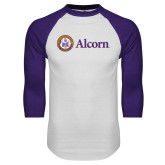 White/Purple Raglan Baseball T Shirt-Alcorn