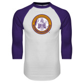 White/Purple Raglan Baseball T Shirt-Alcorn Seal