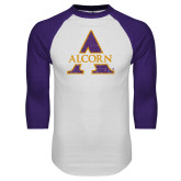 White/Purple Raglan Baseball T Shirt-Distressed Logo
