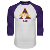 White/Purple Raglan Baseball T Shirt-Alcorn Dad