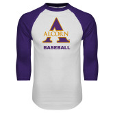 White/Purple Raglan Baseball T Shirt-Alcorn Baseball