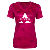 Ladies Pink Raspberry Camohex Performance Tee-Alcorn A