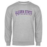 Grey Fleece Crew-Arched Alcorn State University
