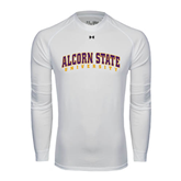 Under Armour White Long Sleeve Tech Tee-Arched Alcorn State University