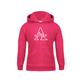 Youth Raspberry Fleece Hoodie-Alcorn Official Logo