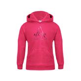 Youth Raspberry Fleece Hoodie-Alcorn Official Logo Foil