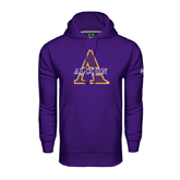 Under Armour Purple Performance Sweats Team Hoodie-Alcorn Official Logo