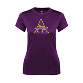 Ladies Syntrel Performance Purple Tee-Alcorn Official Logo