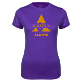 Ladies Syntrel Performance Purple Tee-Alcorn Alumni