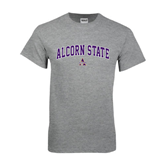 Grey T Shirt-Arched Alcorn State