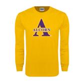 Gold Long Sleeve T Shirt-Alcorn Official Logo