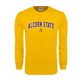 Gold Long Sleeve T Shirt-Arched Alcorn State