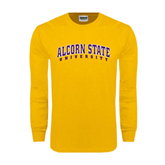 Gold Long Sleeve T Shirt-Arched Alcorn State University