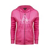 ENZA Ladies Fuchsia Fleece Full Zip Hoodie-Alcorn Official Logo