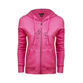 ENZA Ladies Fuchsia Fleece Full Zip Hoodie-Alcorn Official Logo Foil