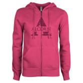 ENZA Ladies Fuchsia Fleece Full Zip Hoodie-Alcorn A Glitter Hot Pink Glitter