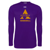 Under Armour Purple Long Sleeve Tech Tee-Alcorn Baseball
