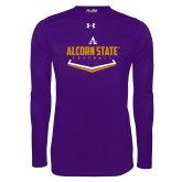 Under Armour Purple Long Sleeve Tech Tee-Alcorn State Softball