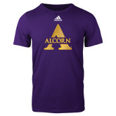 Adidas Purple Logo T Shirt-Alcorn A