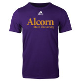 Adidas Purple Logo T Shirt-Alcorn State University