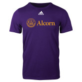 Adidas Purple Logo T Shirt-Alcorn