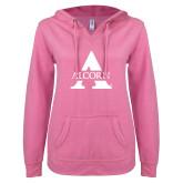 ENZA Ladies Hot Pink V Notch Raw Edge Fleece Hoodie-Alcorn A
