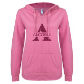ENZA Ladies Hot Pink V Notch Raw Edge Fleece Hoodie-Alcorn A Glitter Hot Pink Glitter