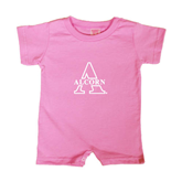 Bubble Gum Pink Infant Romper-Alcorn Official Logo