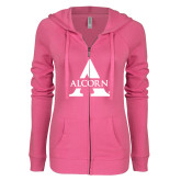 ENZA Ladies Hot Pink Light Weight Fleece Full Zip Hoodie-Alcorn A