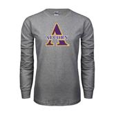 Grey Long Sleeve TShirt-Alcorn Official Logo