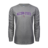 Grey Long Sleeve TShirt-Arched Alcorn State