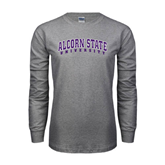 Grey Long Sleeve TShirt-Arched Alcorn State University