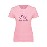 Ladies Pink T-Shirt-Alcorn Official Logo Foil