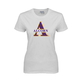 Ladies White T Shirt-Alcorn Official Logo