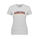 Ladies White T Shirt-Arched Alcorn State University