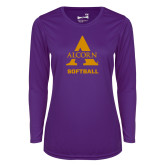 Ladies Syntrel Performance Purple Longsleeve Shirt-Alcorn Softball