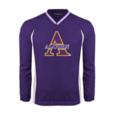 Alcorn Colorblock V Neck Purple/White Raglan Windshirt-Alcorn Official Logo
