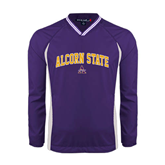 Alcorn Colorblock V Neck Purple/White Raglan Windshirt-Arched Alcorn State