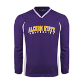 Alcorn Colorblock V Neck Purple/White Raglan Windshirt-Arched Alcorn State University