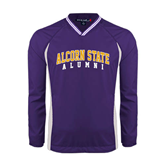 Alcorn Colorblock V Neck Purple/White Raglan Windshirt-Alumni