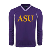 Alcorn Colorblock V Neck Purple/White Raglan Windshirt-ASU