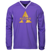 Colorblock V Neck Purple/White Raglan Windshirt-Alcorn A
