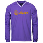 Colorblock V Neck Purple/White Raglan Windshirt-Alcorn