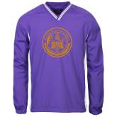 Colorblock V Neck Purple/White Raglan Windshirt-Alcorn Seal