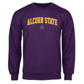 Purple Fleece Crew-Arched Alcorn State