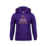 Youth Purple Fleece Hoodie-Alcorn Official Logo
