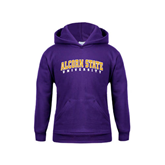 Youth Purple Fleece Hoodie-Arched Alcorn State University
