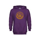 Youth Purple Fleece Hoodie-Alcorn Seal