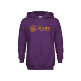 Youth Purple Fleece Hoodie-Alcorn State University Seal
