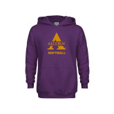 Youth Purple Fleece Hoodie-Alcorn Softball